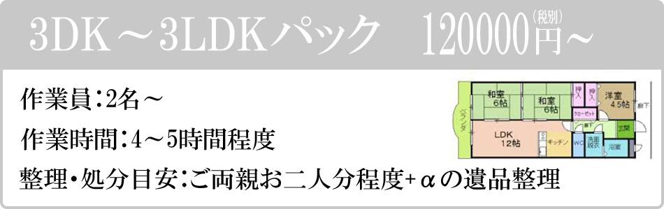 3DK~3LDKパック 120000円(税別)~。作業員:2名~。作業時間:4~5時間程度。整理・処分目安:ご両親お二人分+α程度の遺品整理。
